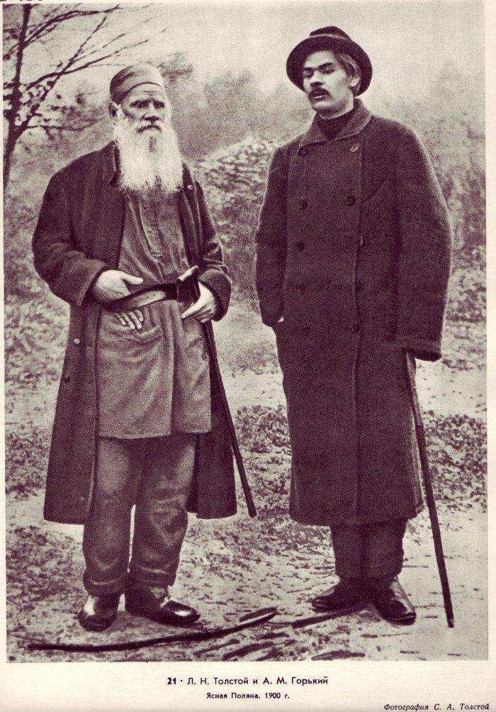 Ο Λέον Τολστόι με τον Μαξίμ Γκόρκι κάπου στα 1900