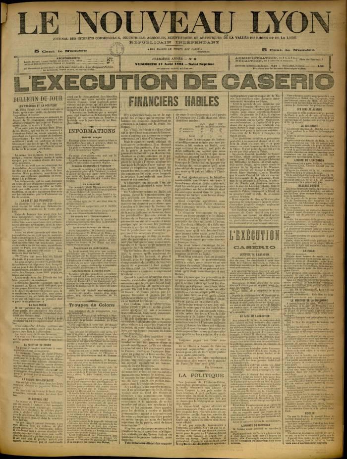 """""""Η εκτέλεση του Καζέριο"""" Le Nouveau Lyon, 17 Αυγούστου 1894"""