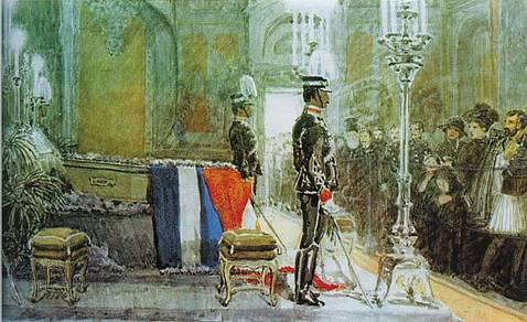 Η κηδεία του Γεωργίου ΑΆ, σύμφωνα με πίνακα του A. Thejll (Αθήνα, Εθνικό Ιστορικό Μουσείο).