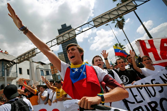 Opposition supporters demonstrate against Venezuela's President Nicolas Maduro's government in Caracas