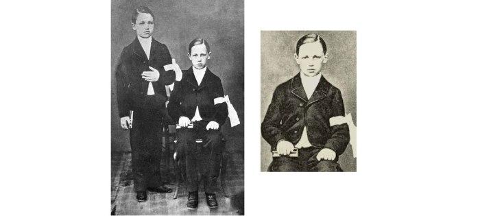 Με τον αδελφό του Frederic, στην πρώτη τους κοινωνία.