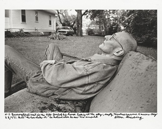William Burroughs at rest in the side-yard of his house… Lawrence, Kansas May 28, 1991…'
