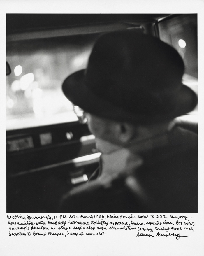 William Burroughs, 11pm late March 1985, being driven home 222 Bowery.