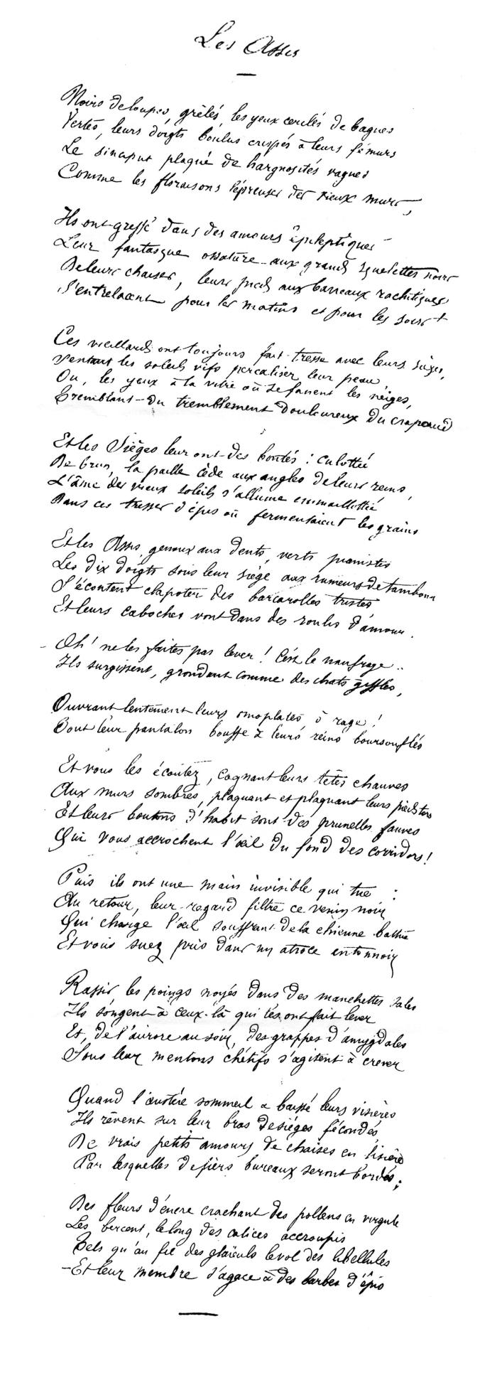 Χειρόγραφο από το ποίημα Les Assis