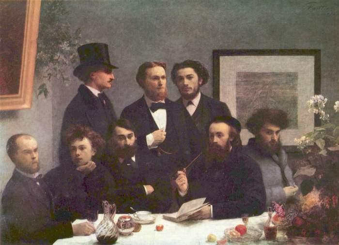 Ο Βερλαίν (άκρη αριστερά) και ο Ρεμπώ (δεύτερος από δεξιά) στα 1872 πίνακας του Henri Fantin-Latour