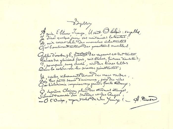 Voyelles: Arthur Rimbaud, χειρόγραφο, 1871-1872