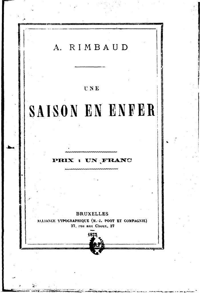 Εξώφυλλο της πρώτης έκδοσης του Μια Εποχή στην Κόλαση (Οκτώβριος 1873).