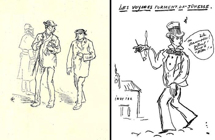 """Αριστ. : Ο Verlaine και ο Rimbaud σε δρόμο του Λονδίνου το 1872, σκίτσο του Félix Régamey. 1872. Δεξ. : """"Τα ταξίδια μορφώνουν τη νεολαία"""", σκίτσο του Paul Verlaine (1897). Bibliothèque nationale de France."""