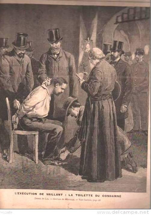 Εκτέλεση του Auguste Vaillant: Η τουαλέτα του καταδικασμένου