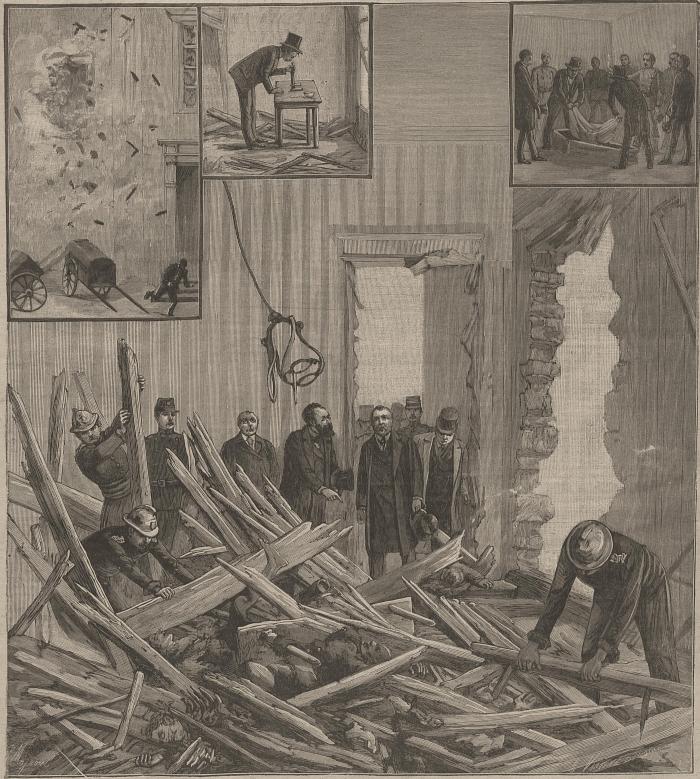 Εικονογράφηση του βομβαρδισμού της Rue des Bons Enfants