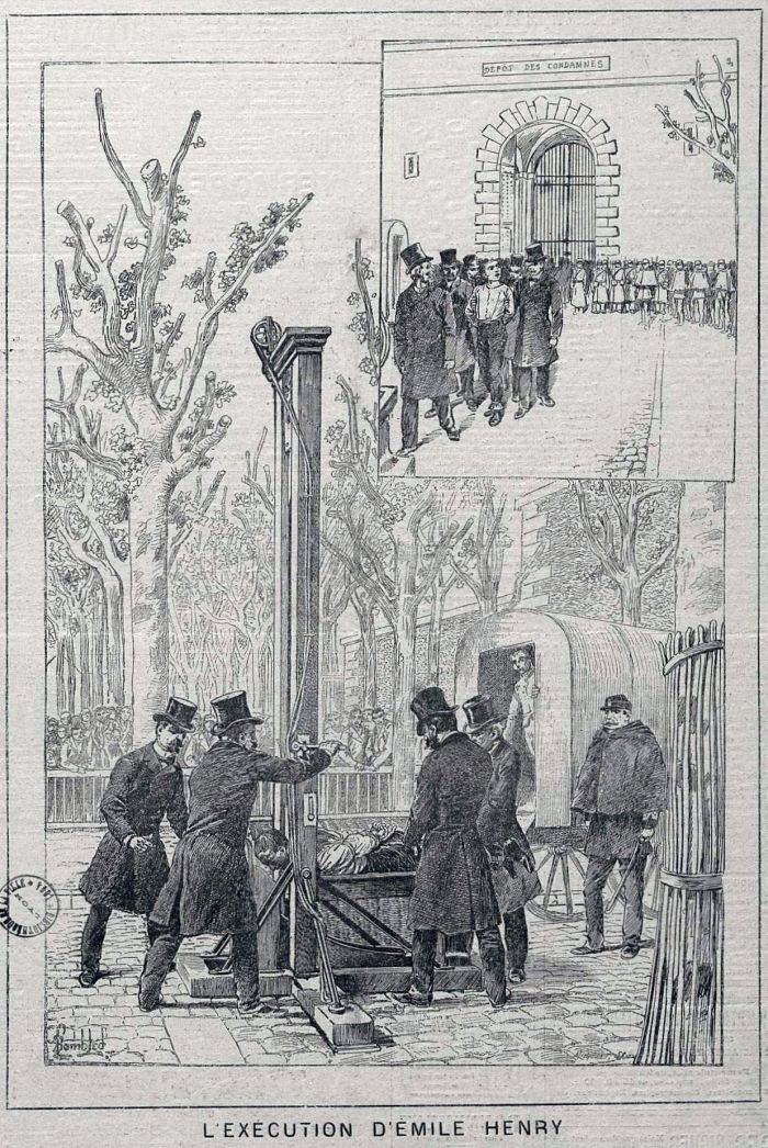 """«Η εκτέλεση του Emile Henry"""". Παράσταση που δημοσιεύθηκε στο The Progress εμφανίζονται (Lyon) 3 Ιούνη του 1894."""