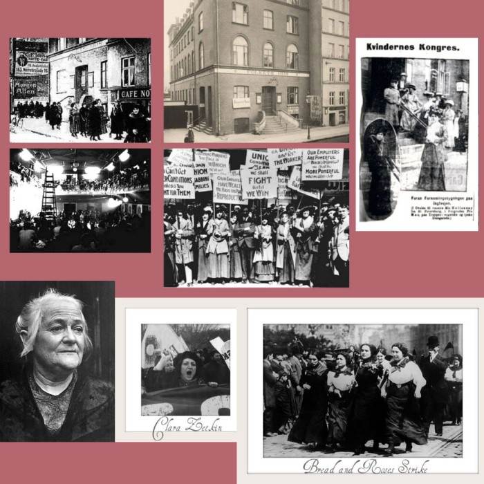 """Γυναίκες που συμμετείχαν στη 2η Συνδιάσκεψη των Σοσιαλιστριών Γυναικών μέσα και έξω από το  """"Σπίτι του Λαού"""". Κάτω αριστερά, η Κλάρα Ζέτκιν, φίλη της Ρόζας Λούξεμπουργκ, ιστορικό πρόσωπο των Σπαρτακιστών της Γερμανίας και του φεμινισμού. Εξελέγη βουλευτής στο Reichstag κατά τη διάρκεια της Δημοκρατίας της Βαιμάρης, από το 1920 εώς το 1933. Βλ. The Marxist-Leninist Daily/cpcml.ca. και Oh Lovely Lolo (The simple luxuries of everyday life)."""