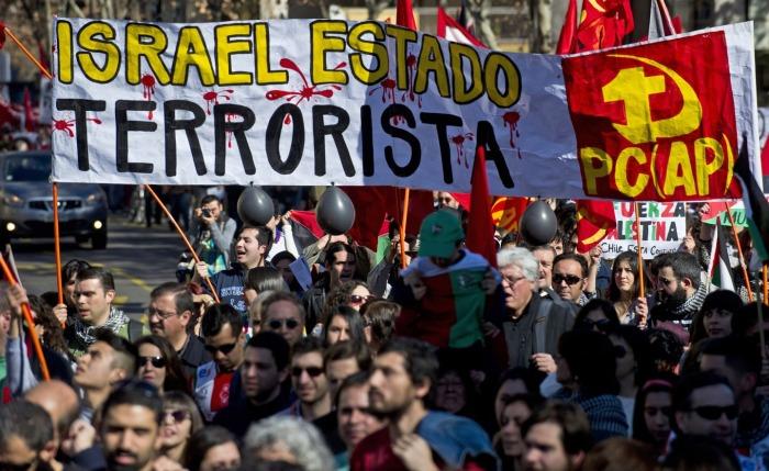 Διαμαρτυρία μπροστά από την πρεσβεία του Ισραήλ στο Σαντιάγκο στη Χιλή