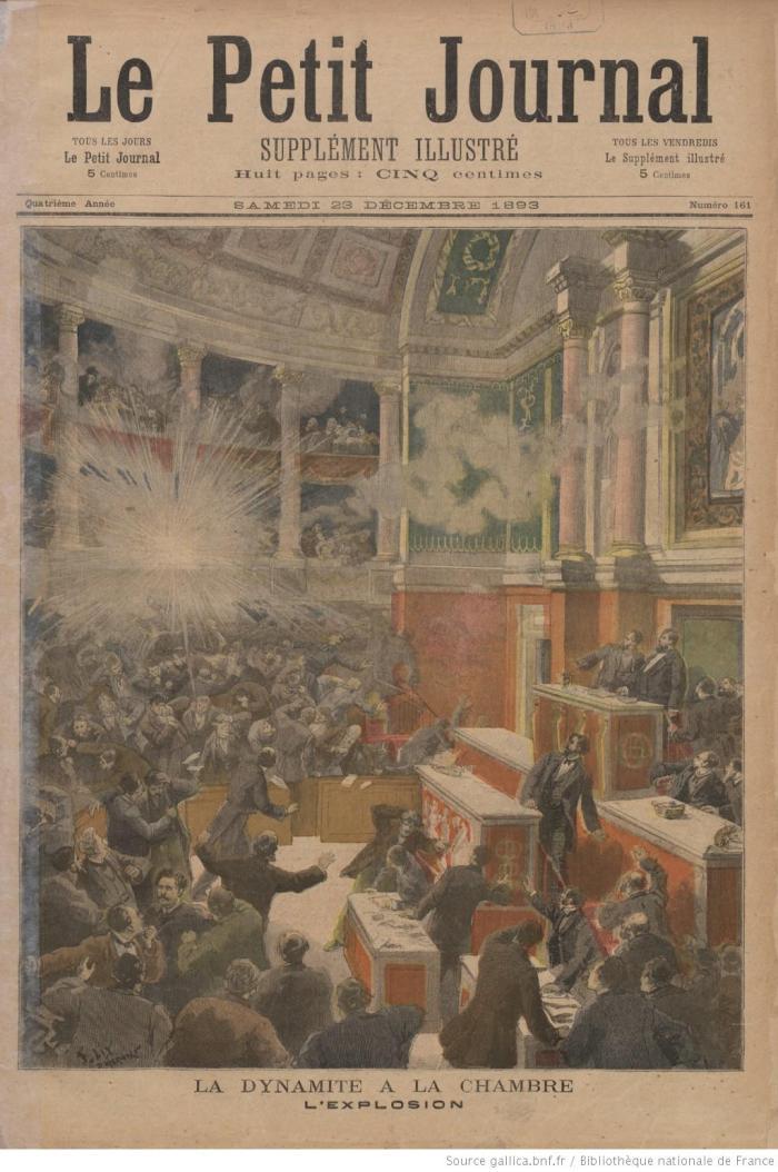 Η βομβιστική επίθεση αποτυπώνεται στην καθημερινή Παριζιάνικη εφημερίδα Le Petit Journal, 23 Δεκέμβρη 1893.